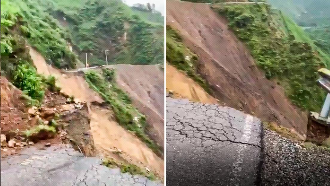 Un deslizamiento de tierra arrasa con unos 100 metros de una carretera en una zona montañosa de la India (VIDEO)