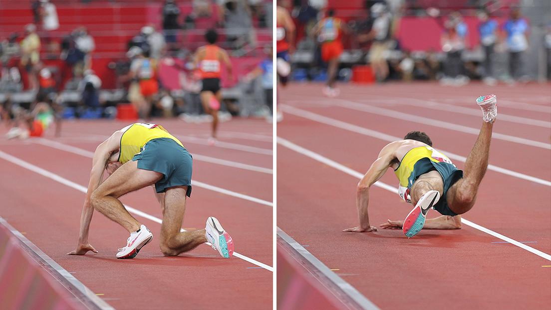 Un corredor australiano de los 10.000 metros en Tokio 2020 cruza la meta a rastras tras desplomarse en dos ocasiones durante la recta final