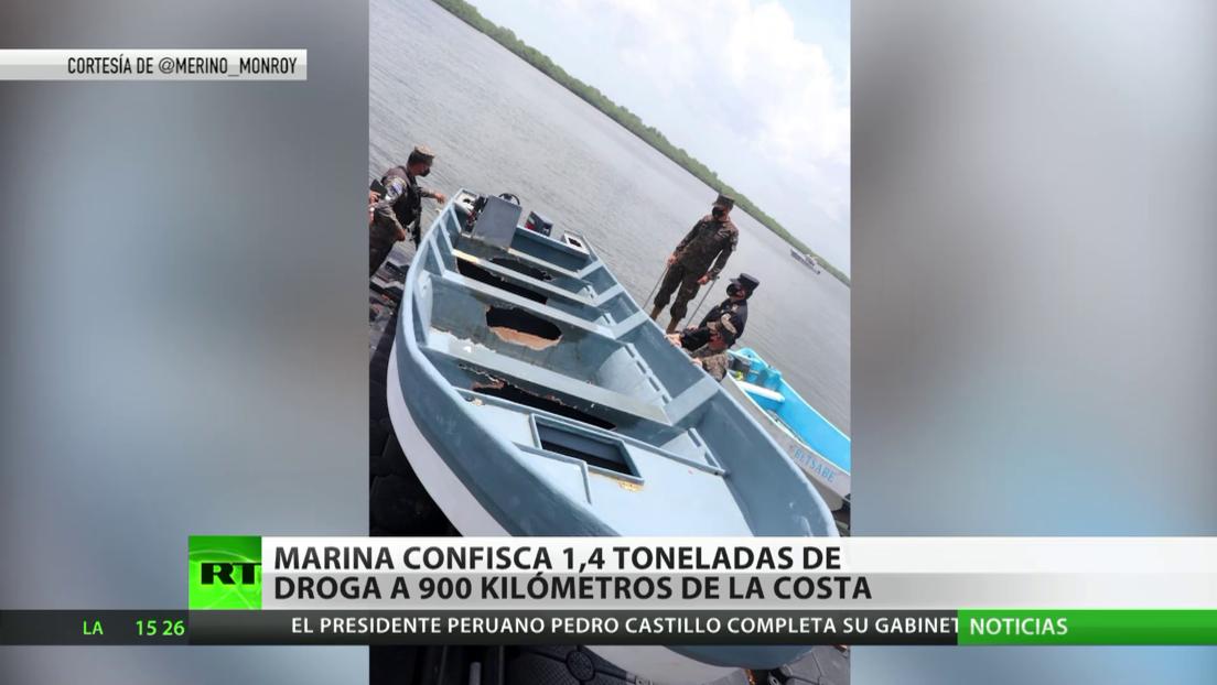 La Marina de El Salvador confisca cerca de 1,4 toneladas de droga a 900 kilómetros de la costa