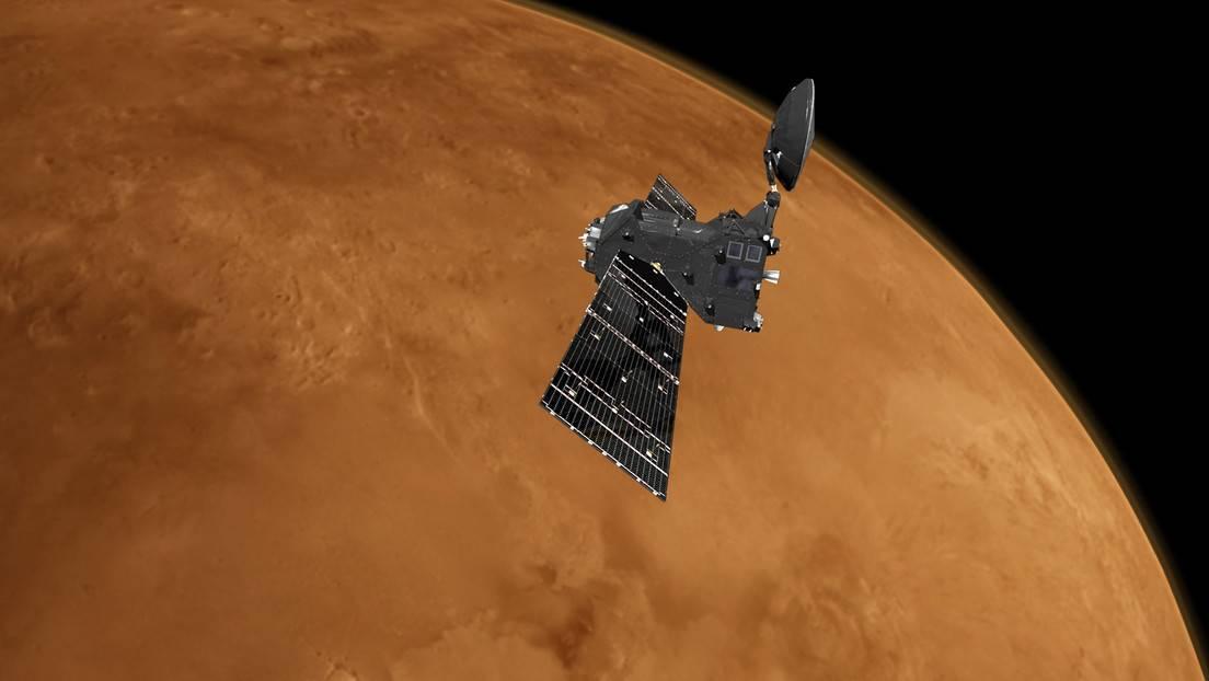 El orbitador espacial ExoMars Trace Gas Orbiter en Marte.
