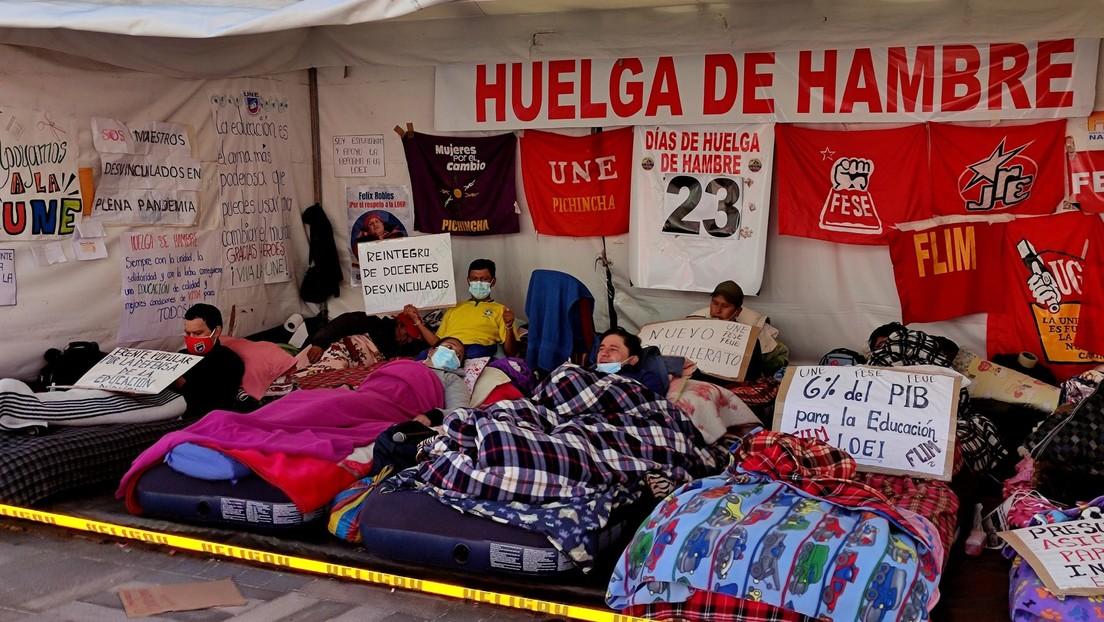 Tres peticiones clave y 23 días de huelga de hambre: ¿por qué se radicaliza la protesta de los educadores en Ecuador?