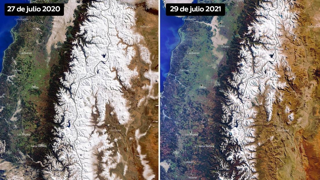 Retrocede la capa de nieve de los picos de la cordillera de los Andes en medio de una megasequía histórica