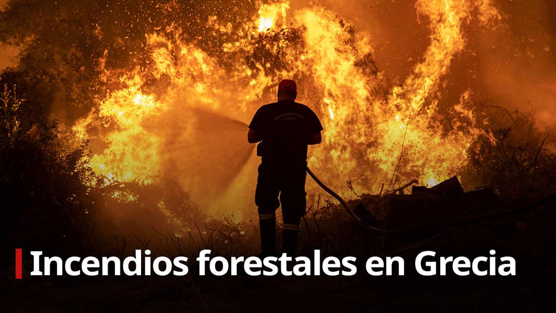 VIDEO: Incendios forestales avanzan en una isla griega
