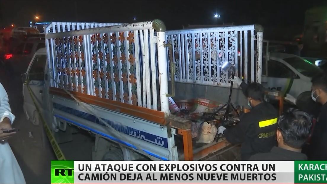 Un ataque con explosivos contra camión deja al menos nueve muertos en Pakistán