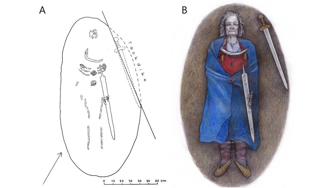 Reconstrucción artística del enterramiento de un guerrero finlandés vestido con ropa de mujer.