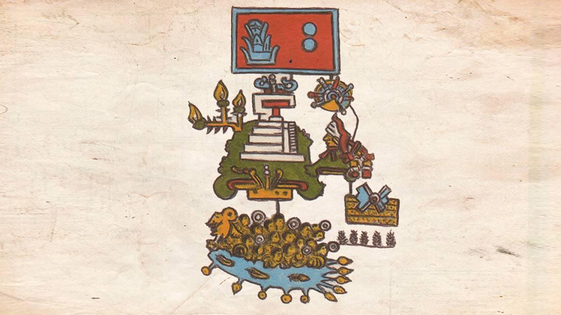 Página del Códice Telleriano-Remensis que, según un nuevo estudio, representa un gran terremoto ocurrido en 1507 en el sur de México.