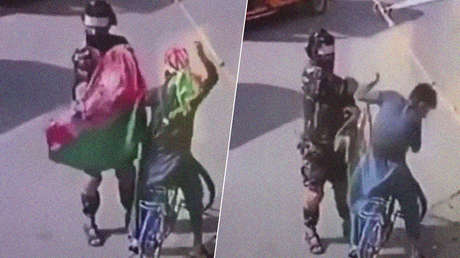 Milicianos talibanes golpean y arrestan a civiles por llevar la bandera nacional afgana (VIDEOS)