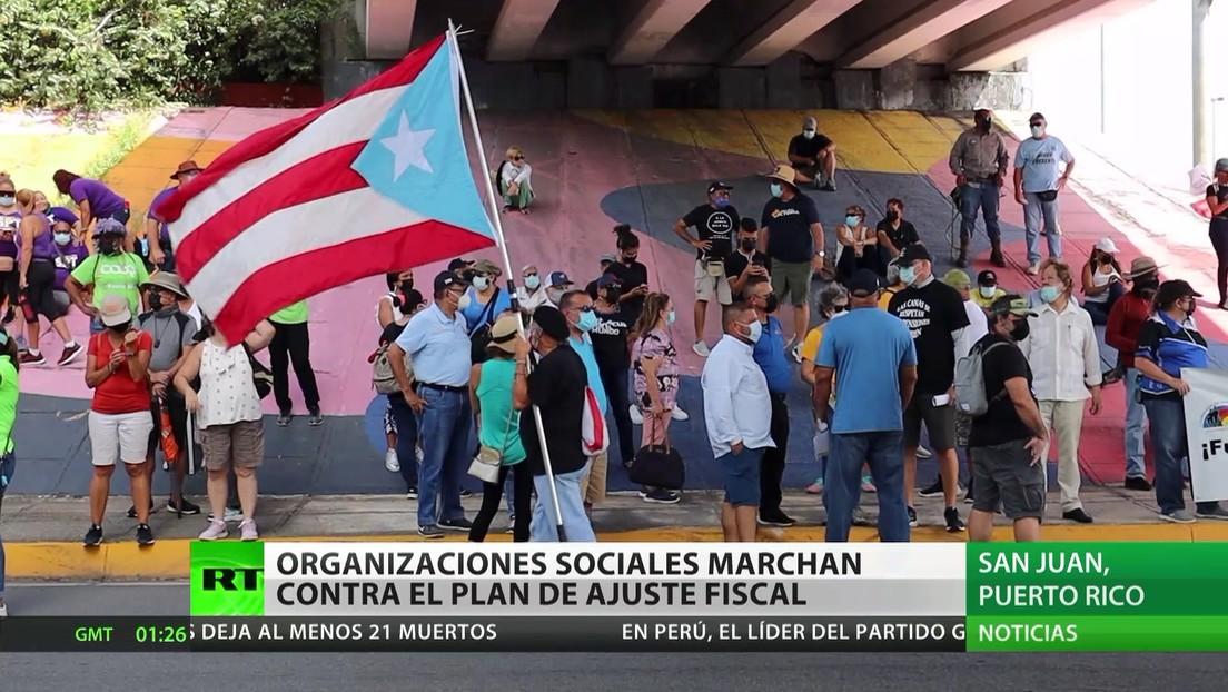Organizaciones sociales marchan contra el plan de ajuste fiscal en Puerto Rico
