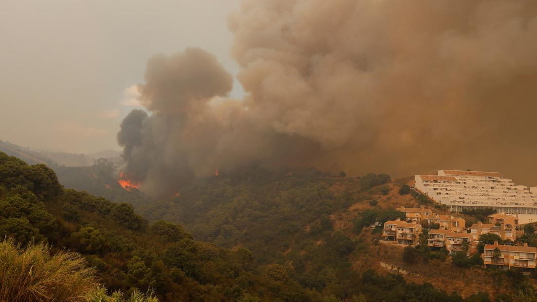 Casi 800 desalojados por un incendio al sur de España que amenaza a un tesoro botánico