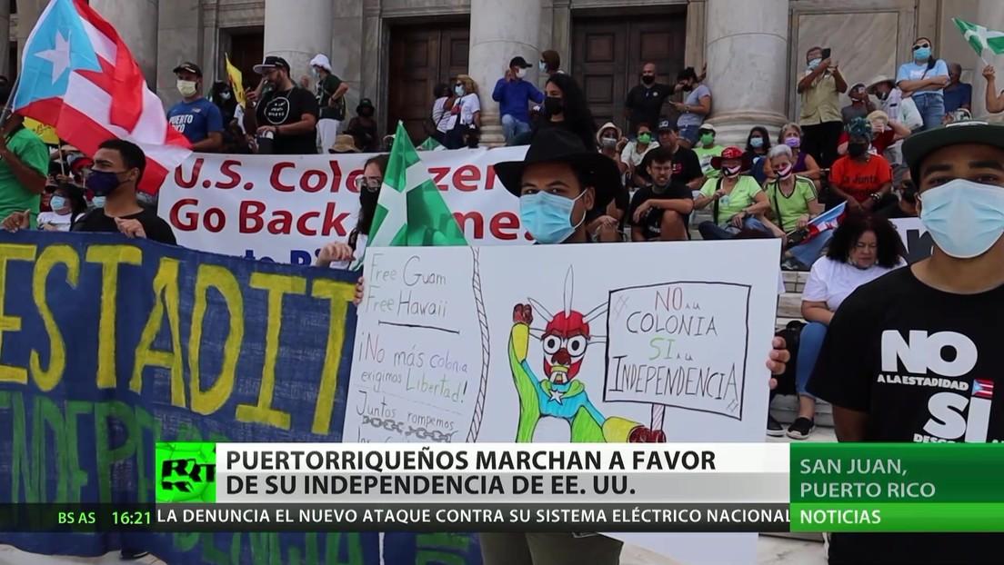 Puertorriqueños marchan a favor de su independencia de EE.UU.