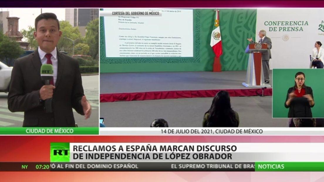 Reclamos a España marcan el discurso de independencia de López Obrador