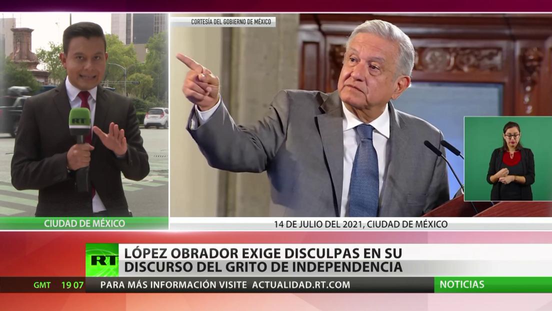 López Obrador exige disculpas en su discurso del grito de independencia de México