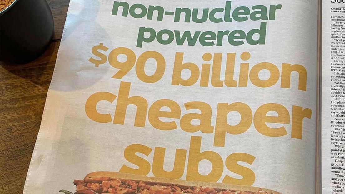 """""""Subs 90.000 millones más baratos de propulsión no nuclear"""": Subway se burla de la cancelación por Australia de la compra de submarinos franceses"""