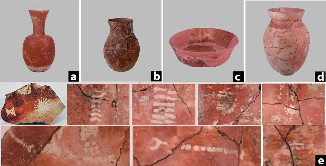(a) y (b) Vasija Hu de cuello largo; (c) Cuenco; (d) Tarro; (e) Una selección de patrones pintados en la cerámica hallada en Qiaotou, en el sur de China.