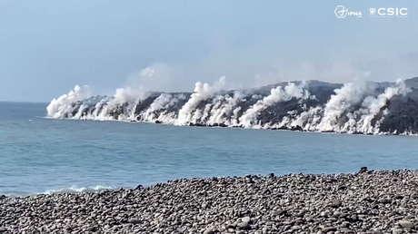 Impactantes imágenes a vista de dron muestran el nuevo delta formado por el volcán en la isla de La Palma (VIDEOS)