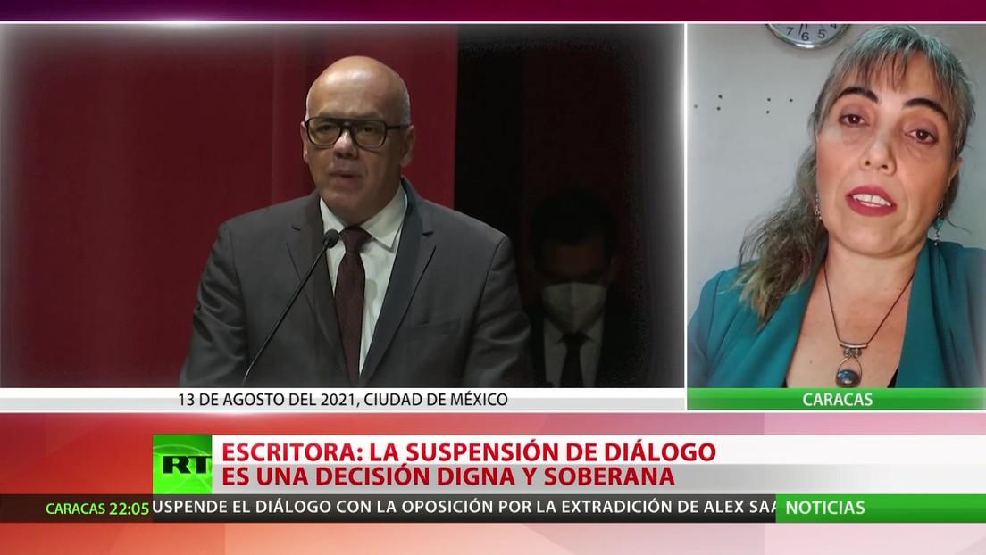 Escritora sobre la suspensión de diálogo entre el Gobierno de Venezuela y la oposición: Es una decisión digna y soberana