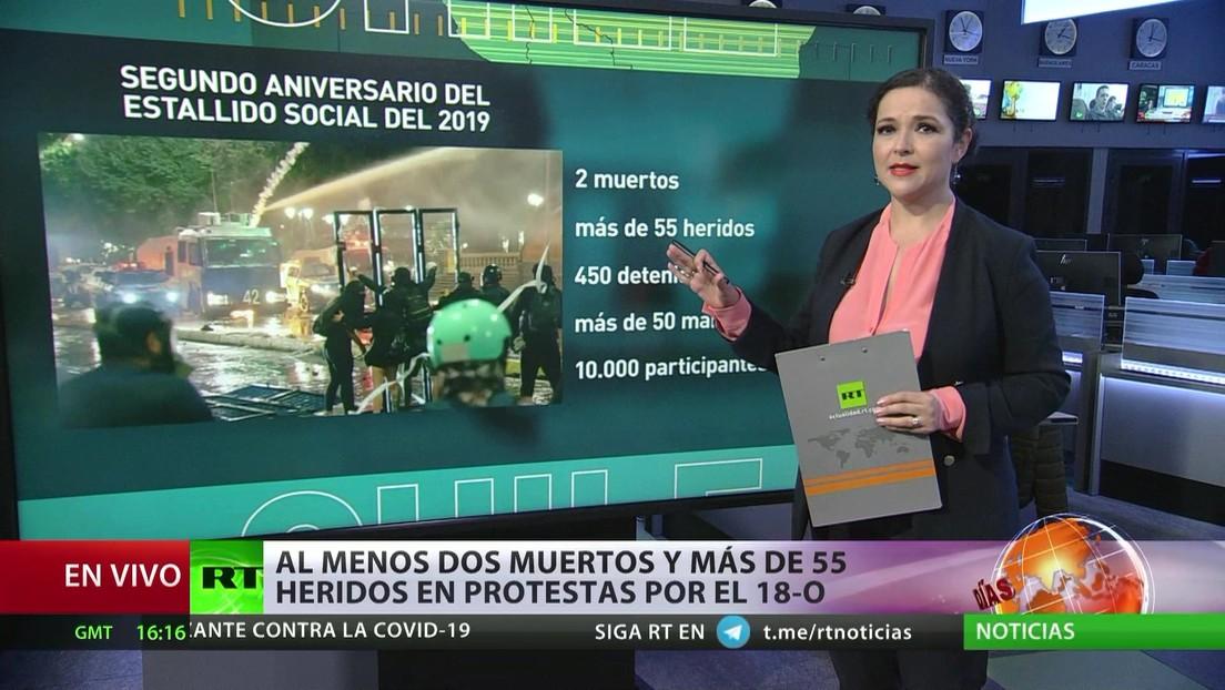 Disturbios en Chile durante protestas por el segundo aniversario del estallido social
