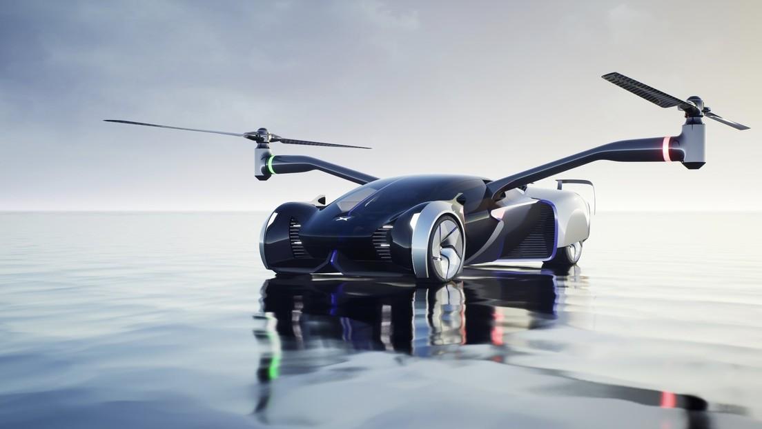 'Coche-helicóptero': empresa china presenta un futurístico auto volador que también podrá circular por las carreteras