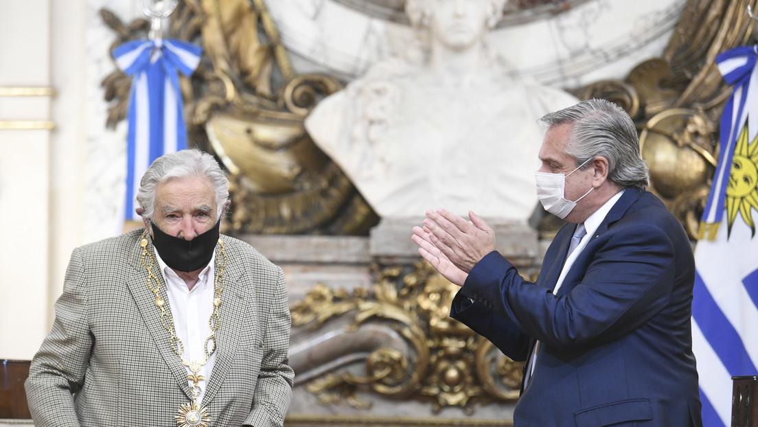 """""""Argentinos, por favor, quiéranse un poco más"""": El mensaje de Mujica al ser condecorado por Alberto Fernández"""