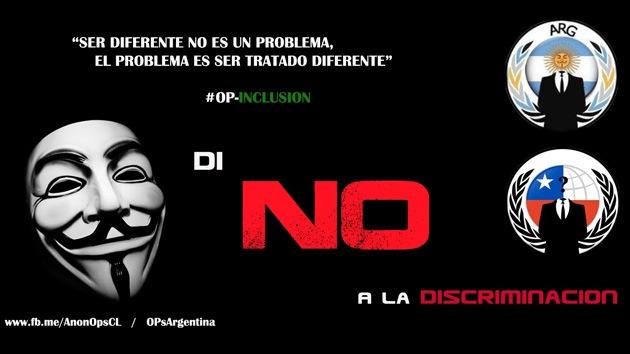 #Opinclusión: Anonymous llama a unirse a su campaña contra la discriminación
