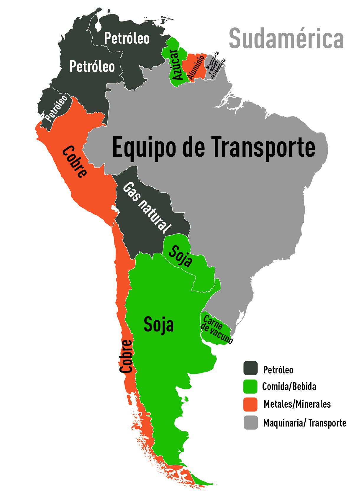 Un mapamundi muestra qué productos son los más exportados en cada país