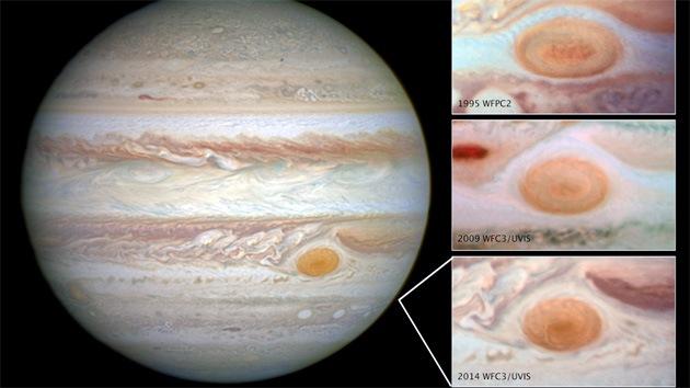 El torbellino gigante de Júpiter disminuyó hasta casi al tamaño de la Tierra