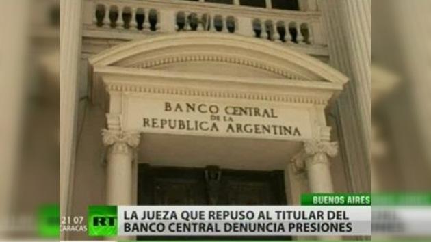 Jueza acusa a Gobierno argentino de presión en la crisis del Banco Central