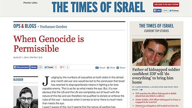 Un medio israelí publica una apología del genocidio