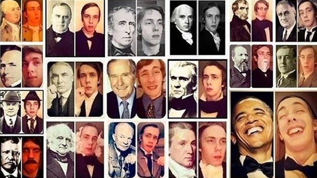 Estudiante publica una serie de 'selfies' copiando fotos de presidentes de EE.UU.