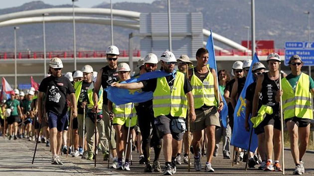 España: la 'marcha negra' de los mineros, a punto de entrar a Madrid