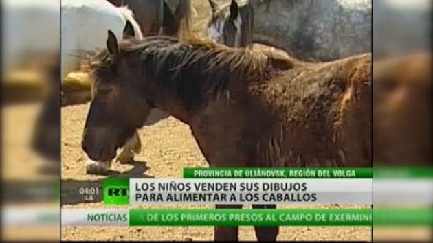 Niños rusos venden sus dibujos para salvar a los caballos percherones