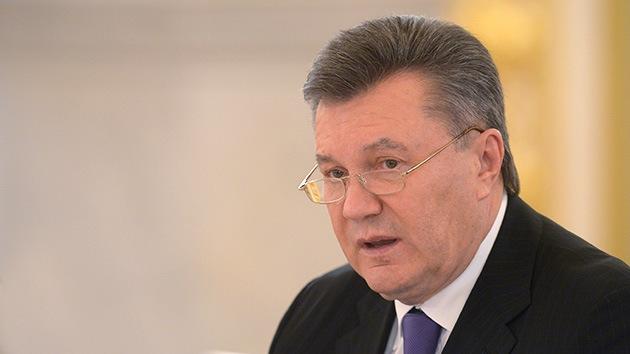 Rueda de prensa de Víktor Yanukóvich, presidente destituido de Ucrania