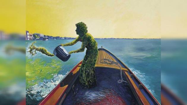 Un artista plástico tiñó de verde el río más contaminado de Argentina