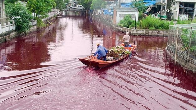 Fotos: Las aguas del río Yangtsé se tiñen de escarlata