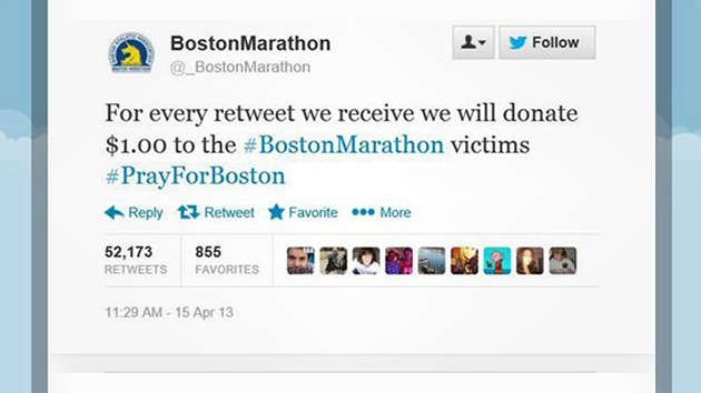 Decenas de cuentas falsas en la red invitan a donar fondos para las víctimas de Boston