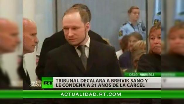 Condenan al terrorista Breivik a 21 años de cárcel