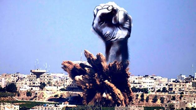 Fotos: Artistas palestinos ponen caras humanas a las columnas de humo en Gaza