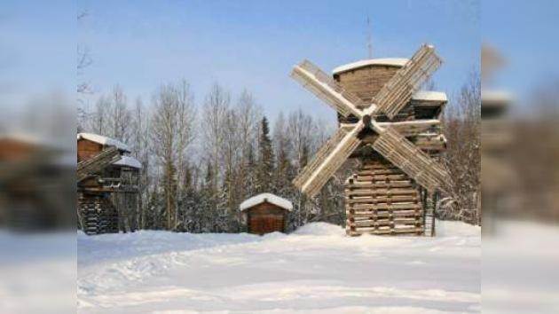 Otoño de molinos de viento y pan tradicional en Kimzha