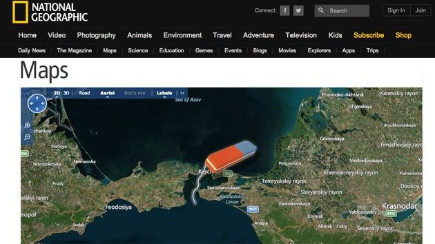 """National Geographic """"muestra el mundo como es"""" y modifica sus mapas por Crimea"""