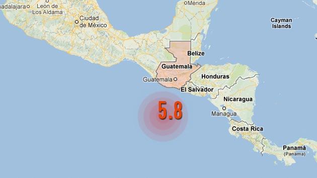 Un terremoto de 5,8 grados de magnitud sacude Guatemala