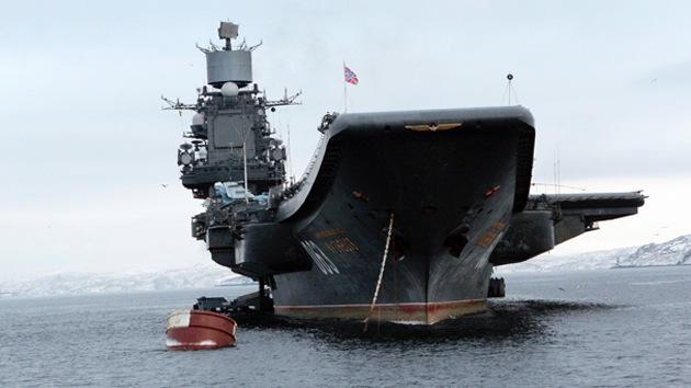 El poderoso portaaviones de la Armada Rusa se dirige al este del Mediterráneo