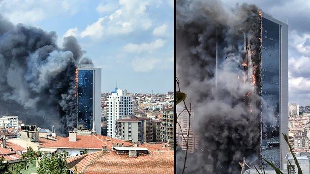Un voraz incendio consume un rascacielos en Estambul
