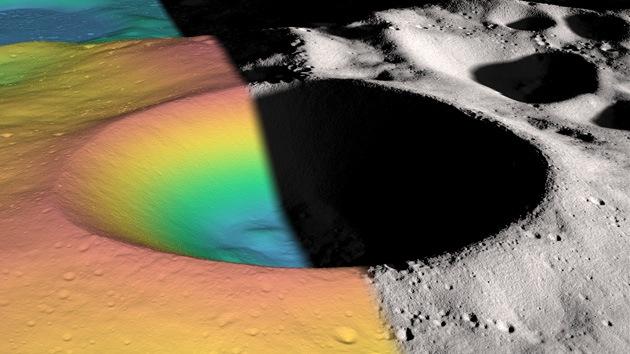 Hallan hielo en el fondo de un cráter lunar