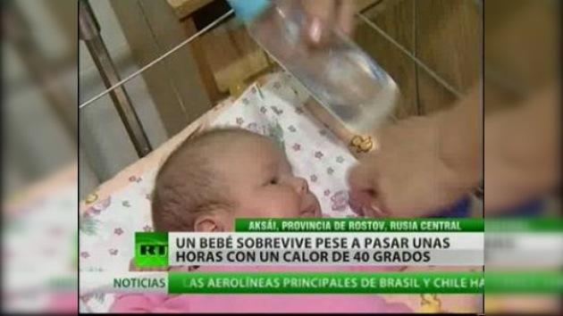 Un bebé abandonado bajo un calor sofocante logró sobrevivir de milagro