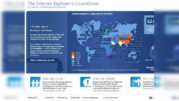 Microsoft pide rechazar Internet Explorer 6