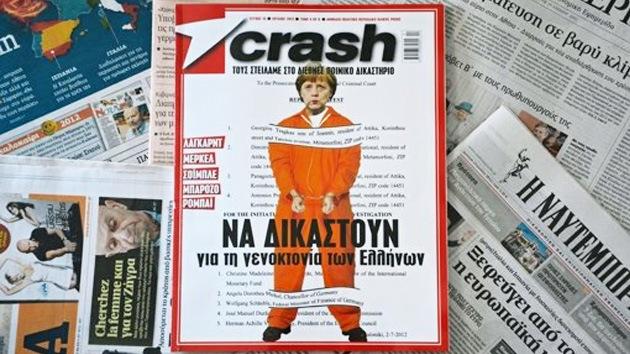 Revista griega 'esposó' y 'enjuició' a Angela Merkel por 'genocidio'