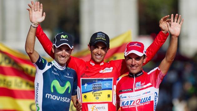Alberto Contador celebra en Madrid su victoria en la Vuelta a España