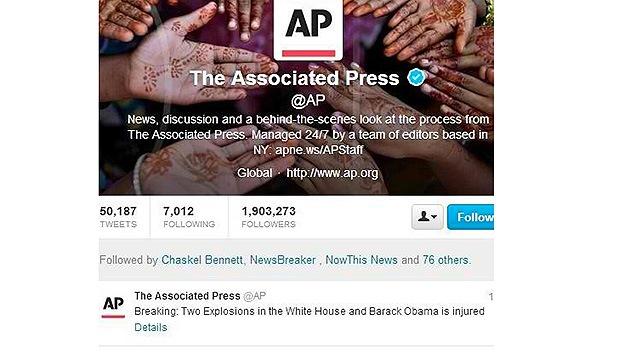 'Hackean' la cuenta de AP en Twitter e informan de dos explosiones en la Casa Blanca
