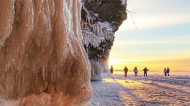 Fotos, video: El intenso frío en EE.UU. permite acceder a maravillosas cuevas de hielo