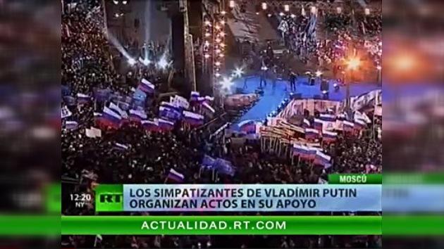 Vídeo: Simpatizantes de Vladímir Putin celebran en Moscú su victoria provisional